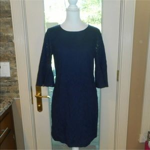 J crew Sz Xs navy blue butterfly sleeves dress